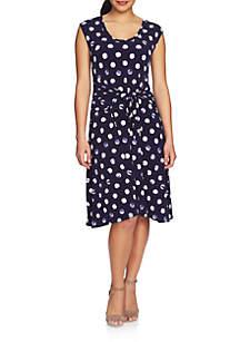 Cap Sleeve Ruched Tie-Dye Dot Dress