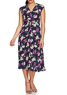 Cap Sleeve Knot Front Cabana Bloom Dress