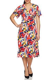 Flutter Sleeve Ruched Floral Faux Wrap Dress