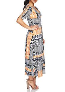 July Cutout Sleeve Patchwork Tie Waist Dress