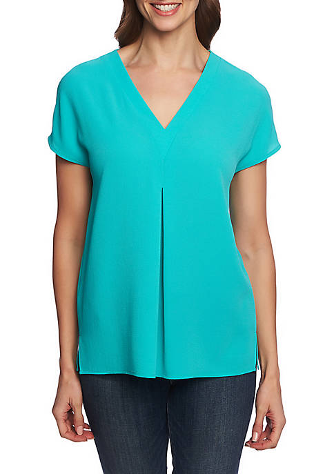 CHAUS Short Sleeve V Neck Blouse