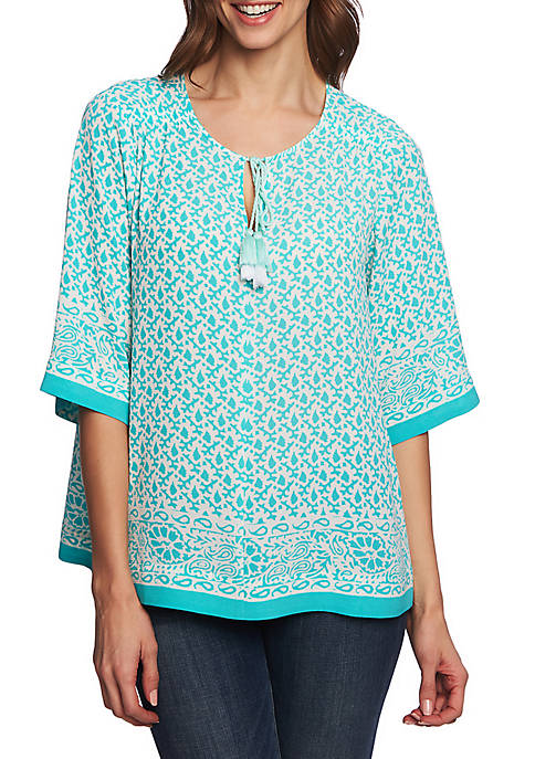 CHAUS 3/4 Sleeve Leaf Border Split Neck Blouse