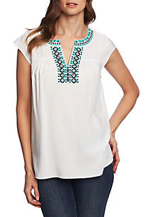 CHAUS Cap Sleeve Embroidered Split Neck Blouse