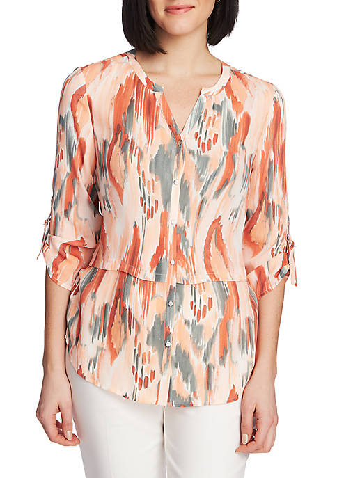 Womens Roll Tab Ikat Button Up Blouse