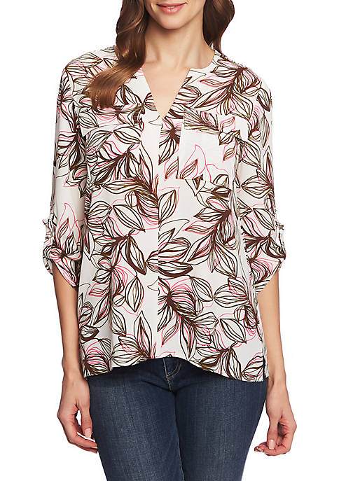 CHAUS Roll Tab 2 Pocket Canyon Bloom Blouse