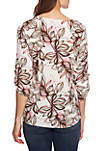 Roll Tab 2 Pocket Canyon Bloom Blouse