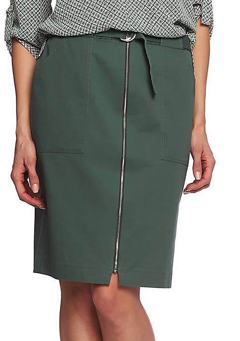 CHAUS Washed Twill Belted Skirt
