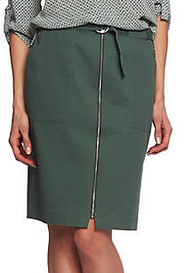 c0129f336a ... CHAUS Washed Twill Belted Skirt