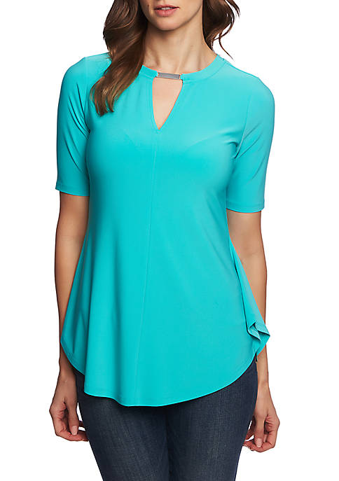 CHAUS Short Sleeve Top with Neck Bar