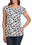 Short Sleeve Batik Floral Ruched Shoulder Top
