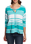 3/4 Sleeve French Terry Stripe Top