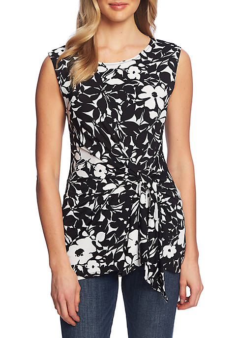 Sleeveless Floret Tracings Ruched Top
