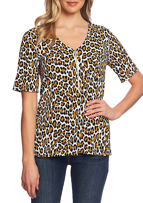 CHAUS Short Sleeve Wild Cat Zipper Top