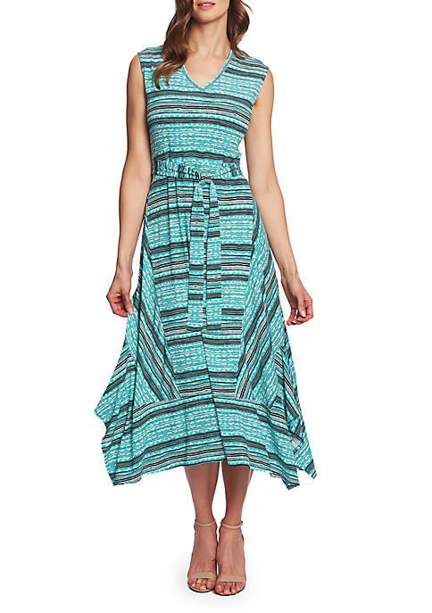 CHAUS Tie Waist Mehndi Shark Bite Dress