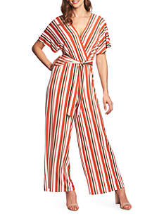 CHAUS Short Sleeve Striped Jumpsuit