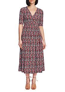 CHAUS Elbow Sleeve Sahara Sunrise Wrap Dress