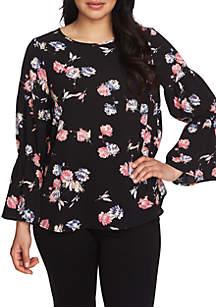 Smocked Sleeves Graceful Blooms Blouse