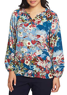 Long Sleeve Split Neck Botanical Blouse