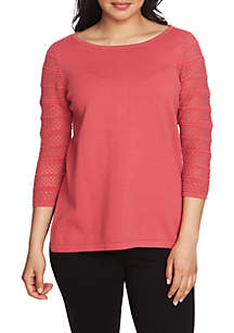 3/4 Sleeve Pointelle Pullover Sweater