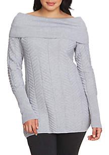 Off-The-Shoulder Chevron Stitch Sweater