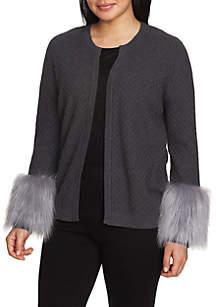 CHAUS Faux Fur Cuff Cardigan