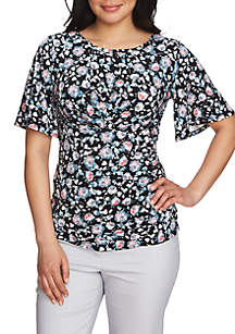 Flutter Sleeve Printed Ruched Top