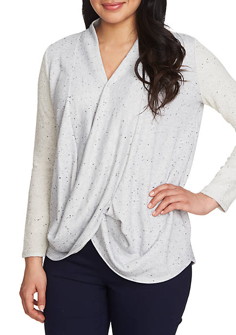Drape Front Speckled Terry Top