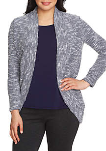 Long Sleeve Open Front Boucle Cardigan