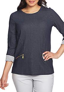 3/4 Sleeve Rib Top with Zip Pockets