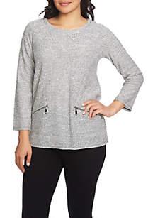 Three-Quarter Sleeve Lurex® Slub Top with Zippers