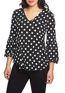 Three-Quarter Sleeve V-Neck Dot Print Top