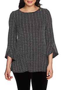 Three-Quarter Sleeve Sparkle Stripe Zip Shoulder Top