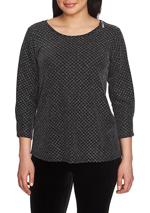 CHAUS Three-Quarter Sleeve Checkered Sparkle Zip Shoulder Top