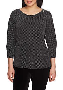 Three-Quarter Sleeve Checkered Sparkle Zip Shoulder Top