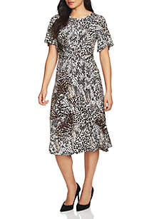 Exotic Animal Print Ruched Dress