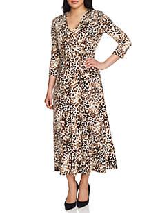 Three-Quarter Sleeve Leopard Wrap Dress