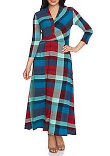 Three-Quarter Sleeve Banner Plaid V-Neck Dress