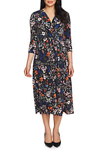 Three-Quarter Sleeve Botanical Wrap Dress