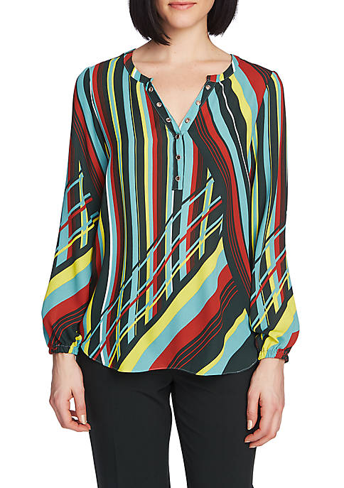 CHAUS Graphic Rays Grommet Blouse