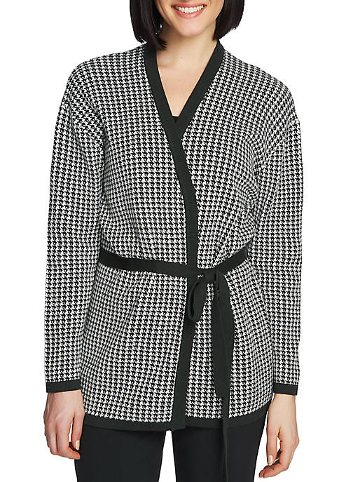 Womens Long Sleeve Houndstooth Belted Cardigan