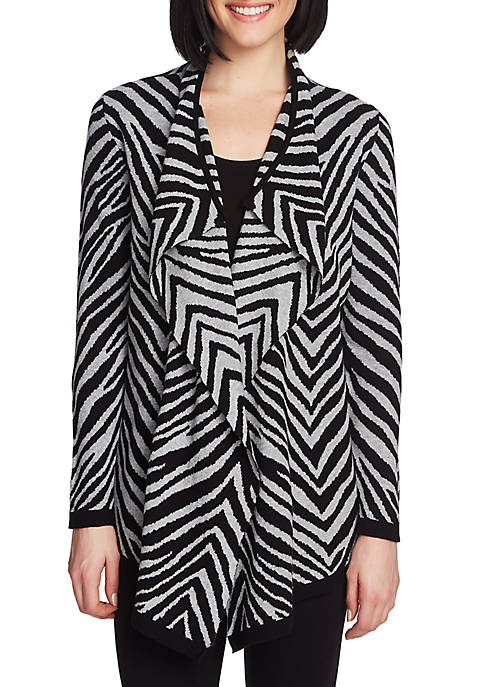 CHAUS Womens Long Sleeve Animal Jacquard Cardigan