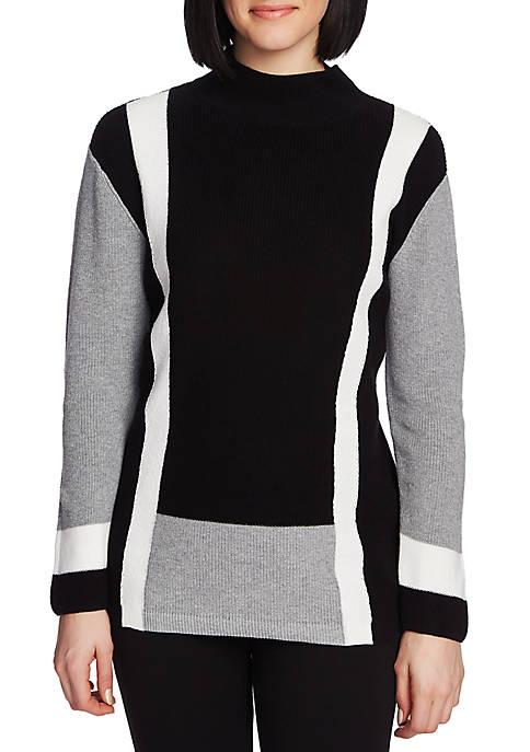 Womens Long Sleeve Color Block Sweater