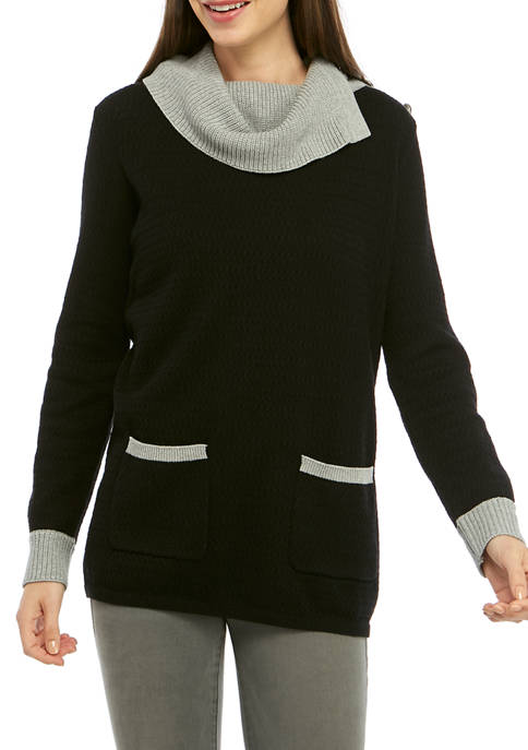 CHAUS Womens Long Sleeve Two Pocket Color Block