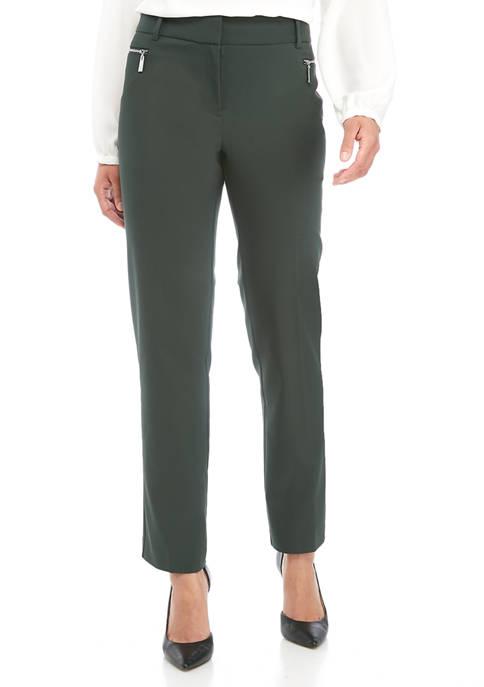 Womens Straight Leg Zipper Pocket Pants
