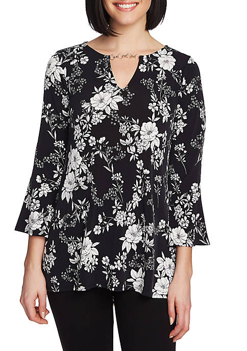 Bell Sleeve Moonlit Buds Keyhole Top