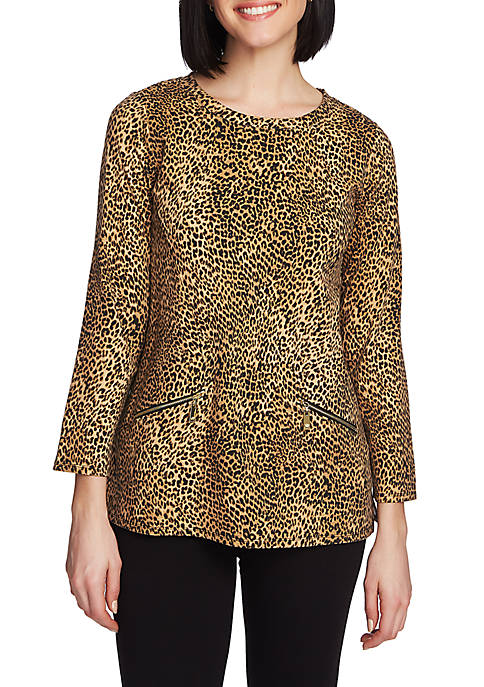 CHAUS 3/4 Sleeve Animal Print Zip Pocket Top