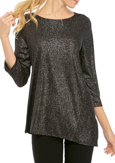 Womens 3/4 Zip Sleeve Dot Sparkle Top