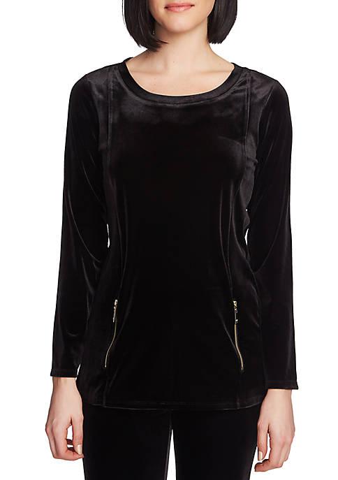 Womens Long Sleeve Velvet Zipper Top