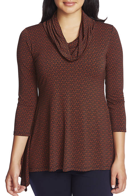 CHAUS Womens 3/4 Sleeve Elemental Forms Cowl Neck