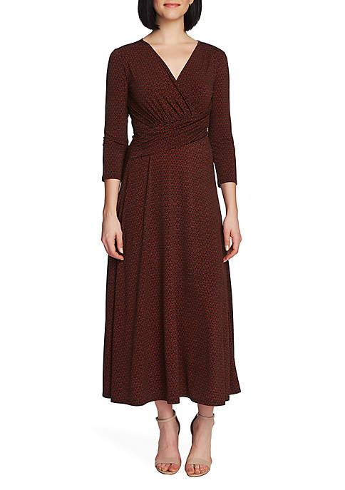 3/4 Sleeve Elemental Forms Wrap Dress